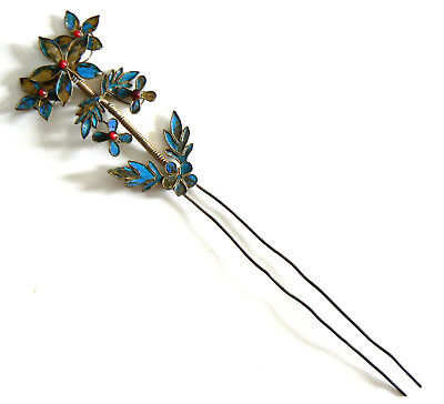 Qing Dynasty Kingfisher feather Hair Pin Antique Chinese Coral Tian-tsui 點翠