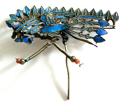 LARGE Qing Dynasty Kingfisher feather Hair Pin Chinese Coral Tian-tsui 點翠