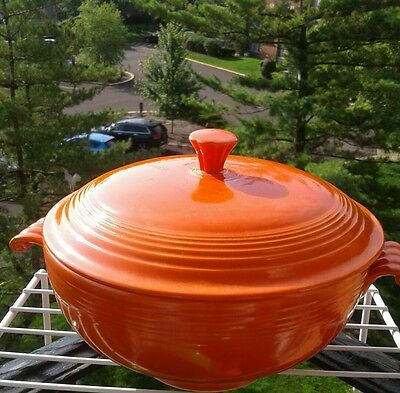 Fiesta covered casserole bowl with lid red orange