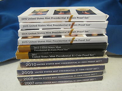 Complete set 2007 to 2016 S Proof Presidental Dollars  in Boxes w COA