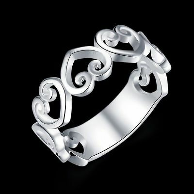Fashion 925Sterling Solid Silver Jewelry Heart Rings For Women R802