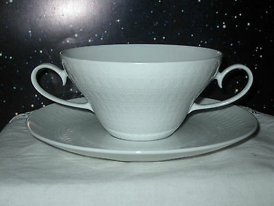 Fa. Rosenthal, Romanze in weiß, Suppentasse + Untertasse, TOP