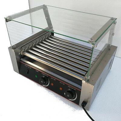 New Commercial Hotdog 9 Roller Grill Cooker Sausage Machine W/cover Stainless