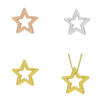 10 Sterling Silver Star Charm 6mm 24K Gold Plated 18K Rose Gold Pendants