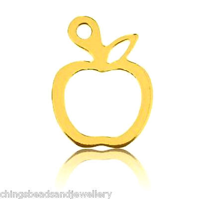 24K Gold Plated15x10mm Sterling Silver Apple Charm Pendant PK1 PK5