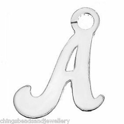 Sterling Silver A-Z Initial Letter Alphabet Charm Sterling Silver Pendant