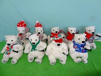 Lot of 9 1999 COCA COLA BEAN BAG HOLIDAY POLAR BEAR CHRISTMAS With Tags NEW