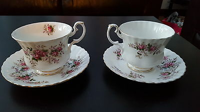 RARE  ROYAL ALBERT LAVENDER ROSE - LARGE BREAKFAST CUP AND SAUCER  x 2