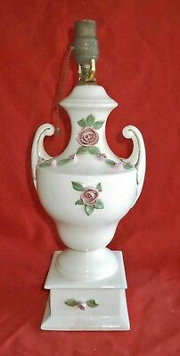 Capodimonte Vintage Large Urn Classical Regency Table Lamp White Pink Decor