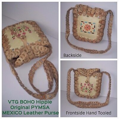 "VTG "" Pymsa "" Mexico Hippie Boho Floral Hand Tooled Floral Leather Handbag Purse"