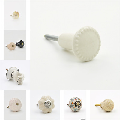 Cream Colour Coloured Cupboard Knobs Handles Pulls For Furniture Drawers UK Knob