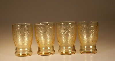Set of 4 Vintage Federal Glass Amber Madrid Water Tumblers c.1935