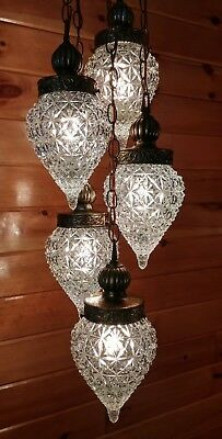 Antique/VTG Hollywood Regency Hanging 5 Light Tear Drop Swag Light, 1950s/60s
