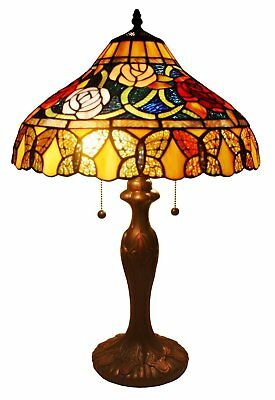 "Stained Glass 2 Light Table Lamp Roses And Butterflies 24"" Tiffany Style Shade"
