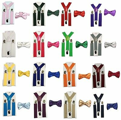Kid Children Boy Braces + Bow tie 2 Pcs Set Suspender Wedding UK