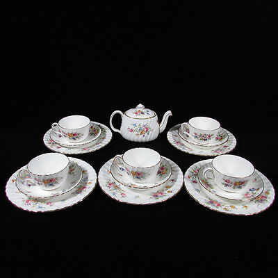 16-Pc Set MINTON Marlow Hand Painted Porcelain Teapot, Cups & Saucers and Plates