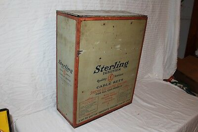 """Vintage 1930's Sterling Ignition Cables Gas Oil 24"""" Metal Sign Display Cabinet"""