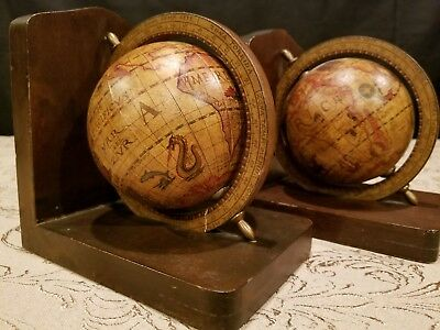 Vintage old world spinning globe map bookends nautical library vintage pair old world map globe bookends spinning rotating wood base italy gumiabroncs Image collections