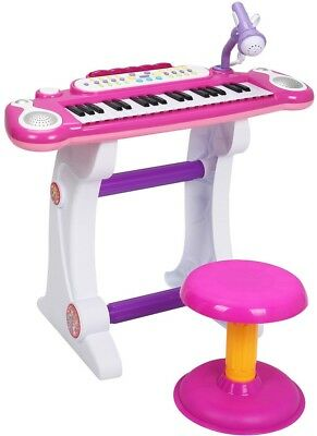 Kids Electronic Piano Toy 37-Key Keyboard w Microphone and Stool Pink Musical