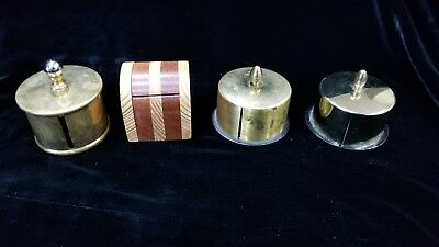 Lot of 4 Vintage Antique Brass Wood Metal Stamp Roll Dispensers Mr Bush signed