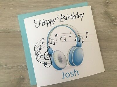 Personalised Birthday Greeting Card Headphones Music Teenage Boy Son Grandson