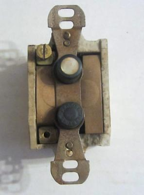 Antique Perkins Single Pole Porcelain Push Button Switch  10A At 125V  Tested