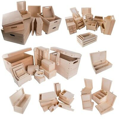 Selection of 100 Wooden Storage Boxes / Medium & Large / Trunk Chest Crate Box