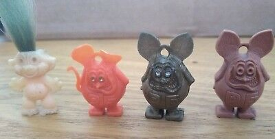 Three Rat Fink Charms + One Troll - 1960s Finks, Different Colors