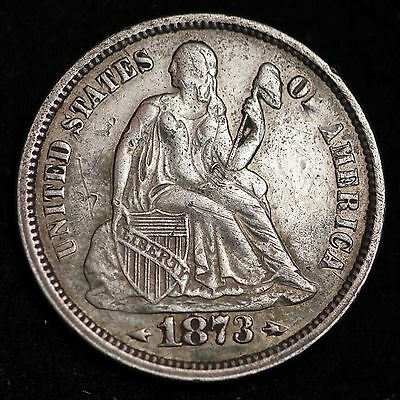1873 OPEN 3 ARROWS Seated Liberty Dime CHOICE XF+/AU FREE SHIPPING E246 CTX