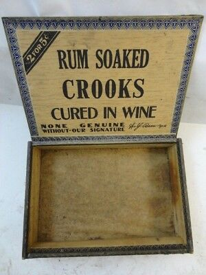 VINTAGE ANTIQUE 1920s WOLF BROS. RUM SOAKED CROOKS WOOD CIGAR BOX INCL TAX STAMP