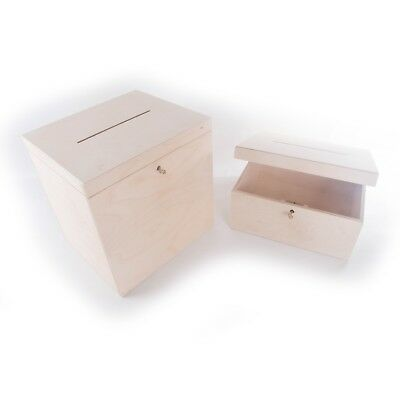 Wooden Plain Lockable Post Box With Slot Wedding Cards / Choice Between 2 Sizes
