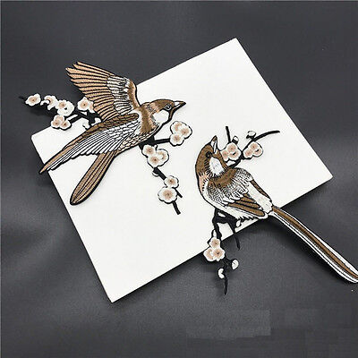 1 Pair Bird Embroidered Patches Iron on Sewing Stripe for clothes applique  Z