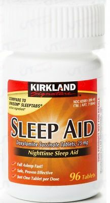 Kirkland Signature Sleep Aid Doxylamine Succinate 25 Mg 96-Tablets EXPIRE 2020