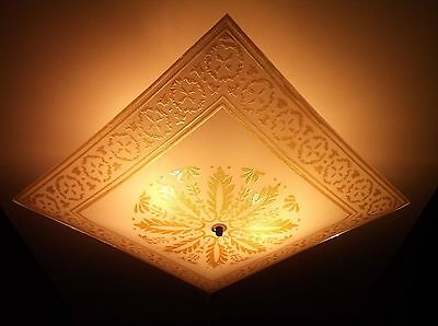 Vintage Art Deco Square Gold Beaded Ceiling Fixture Light Shade