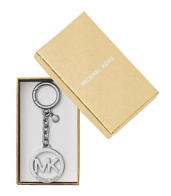 Michael Kors Silver Tone MK Key Fob Key Chain Brand New with MK Gift Box