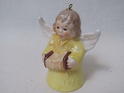 Vintage Goebel 1979 4Th Eddition Angel Bell Ornament Yellow  Accordion Germany