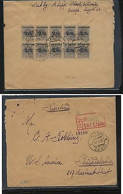 Estonia nice franking block of 10 on registered cover US  1922            KL0709