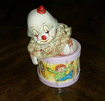 Vintage Clown In a Drum with Revolving Music Box Head Moves. KM