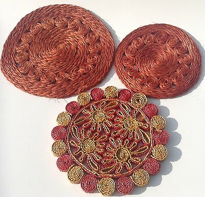 3 Wicker Straw Hot Pot Holders Woven Trivets Pads Vintage Raffia