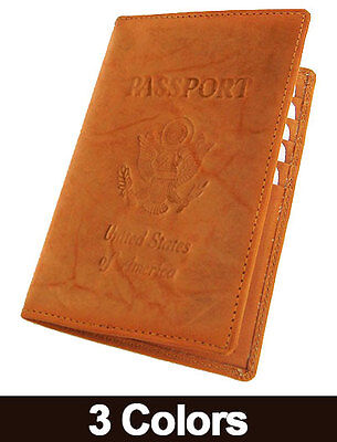 USA PASSPORT Real COWHIDE LEATHER COVER Travel 8+ Card Case Men Wallet