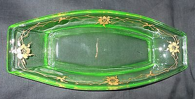 "Vintage 11 - 1/2 "" Depression Green Vaseline Glass Relish Dish W/ Gold Floral"