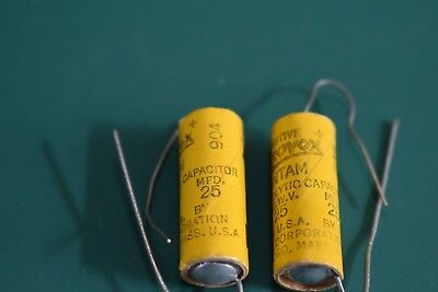 Aerovox AVX 25 uF 25 Vdc Amplifier Filter Electrolytic NOS Capacitors (2) Tested
