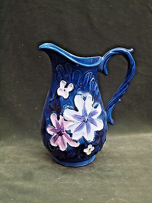 "Vintage NAPCOWARE Blue Floral Ceramic Pitcher 8"" tall"