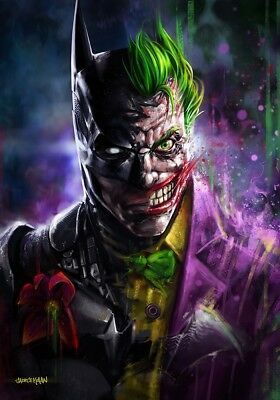 Batman Joker Split - Dc Comics Superhero Large Poster / Canvas Picture Prints