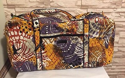 New Vera Bradley Large Duffel Travel Bag in Painted Feathers