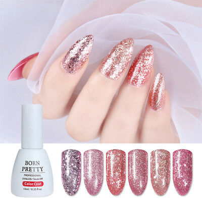10ml Born Pretty Glitter UV Gel Polish Rose Gold Soak Off Gel Varnish