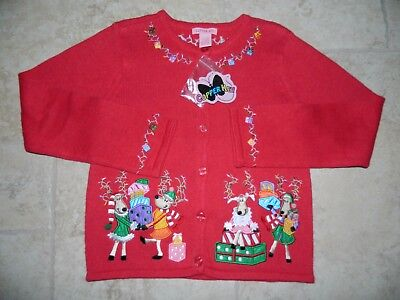 NWT Copper Key Girls Cardigan Embroide Reindeer Christmas Sweater sz 10-12 $30