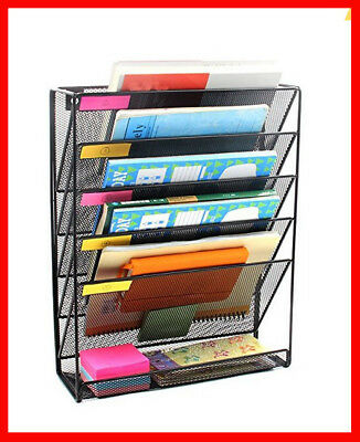 New Mesh Wall Mounted File Holder Organizer Literature Rack 5 Compartments Black