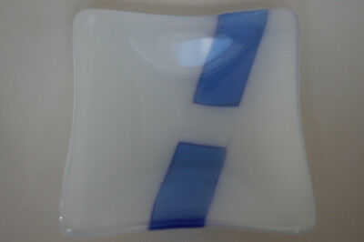 Fused Art Glass square bowl / plate / trinket dish - BLUE - Handmade in Tasmania