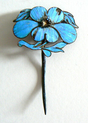 Qing Dynasty Kingfisher Feather Hair Pin Antique Chinese Ca. 1850 Tian-tsui 點翠